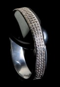 WOVEN SILVER AND HEMATITE RING